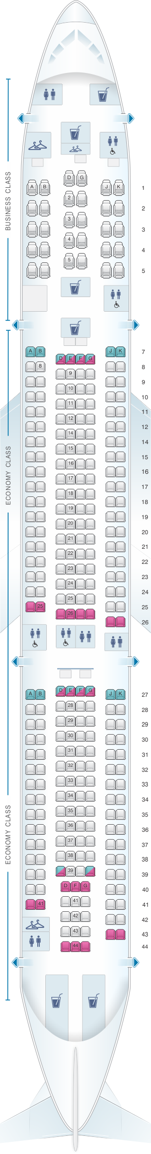Seat map for China Airlines Airbus A330 300 Config. 1
