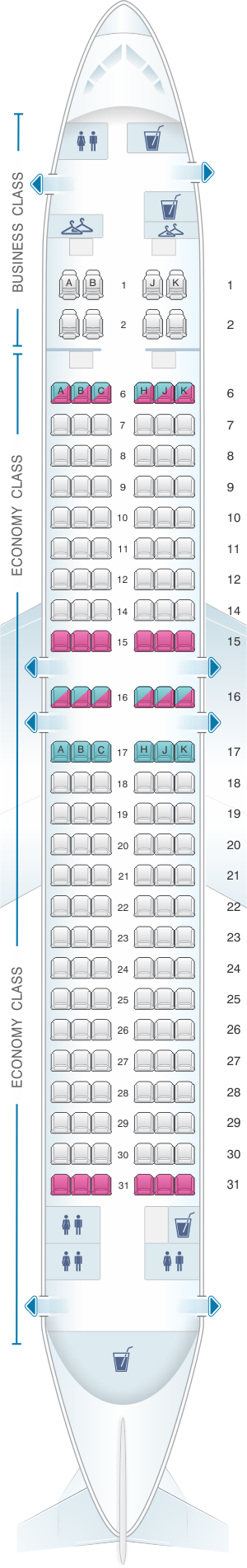 Seat map for China Airlines Boeing B737 800 Config.1
