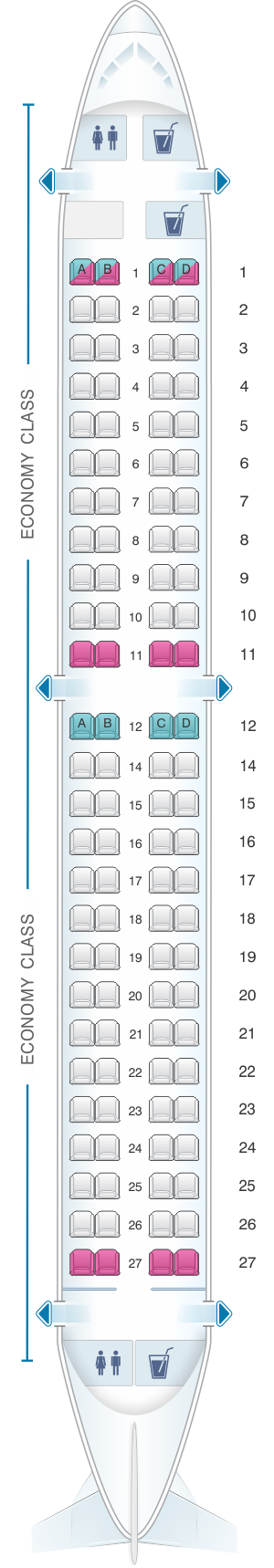 Seat map for China Airlines Embraer 190