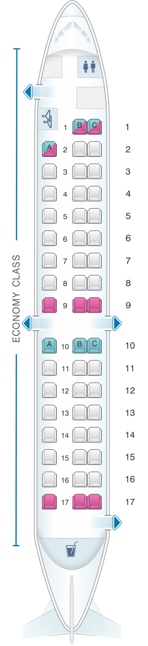 Seat map for Darwin Airline Saab 2000