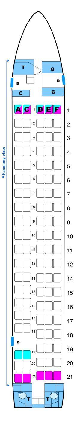 Seat map for OLT Express Fokker100