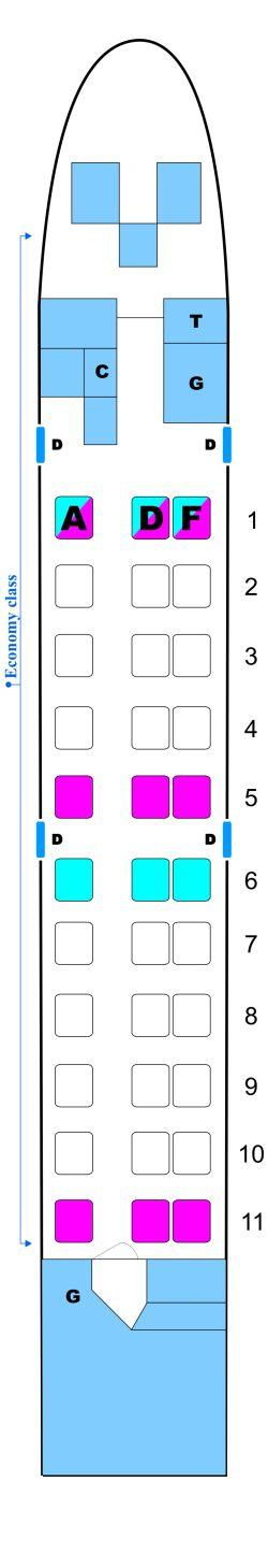 Seat map for OLT Express Saab340