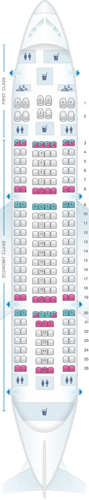 Seat map for Yemenia - Yemen Airways Airbus A310 325 198pax