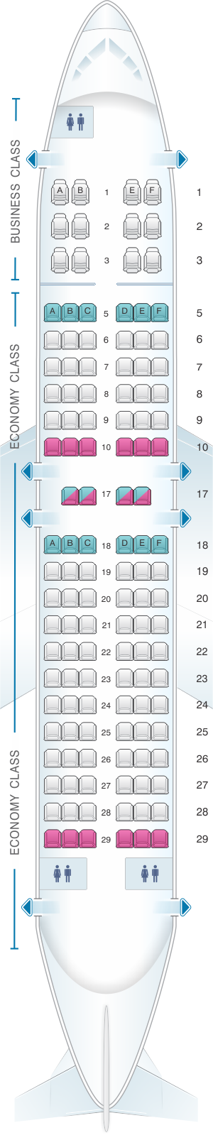 Seat map for Copa Airlines Boeing B737 700
