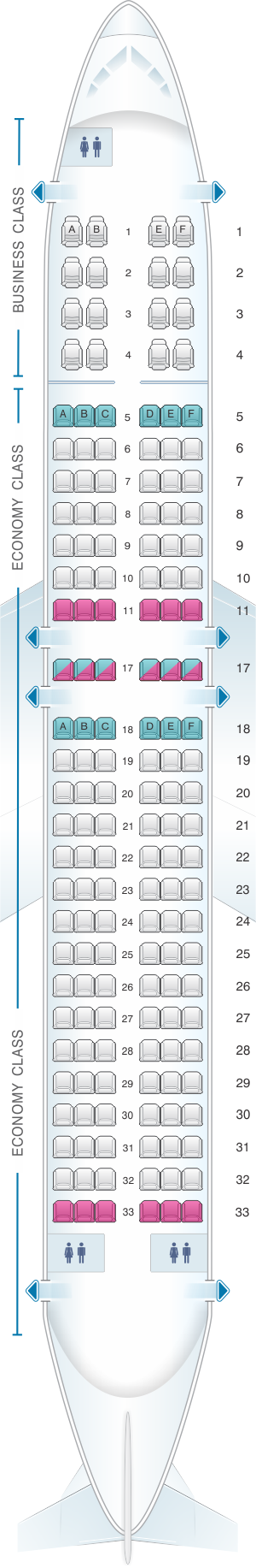 Seat map for Copa Airlines Boeing B737 800A
