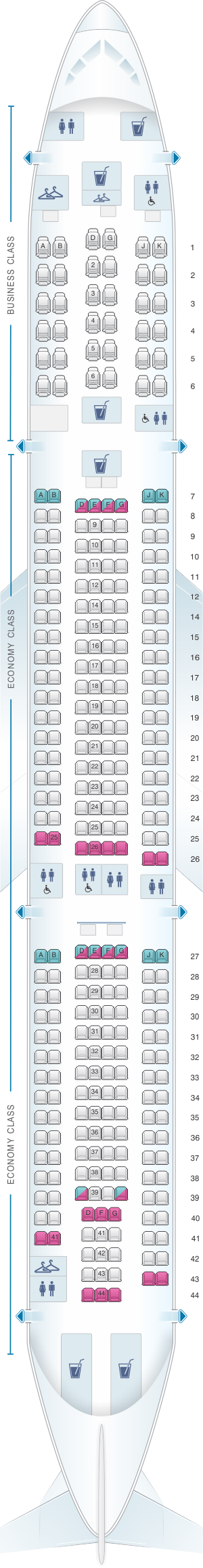 Seat map for China Airlines Airbus A330 300 Config. 2