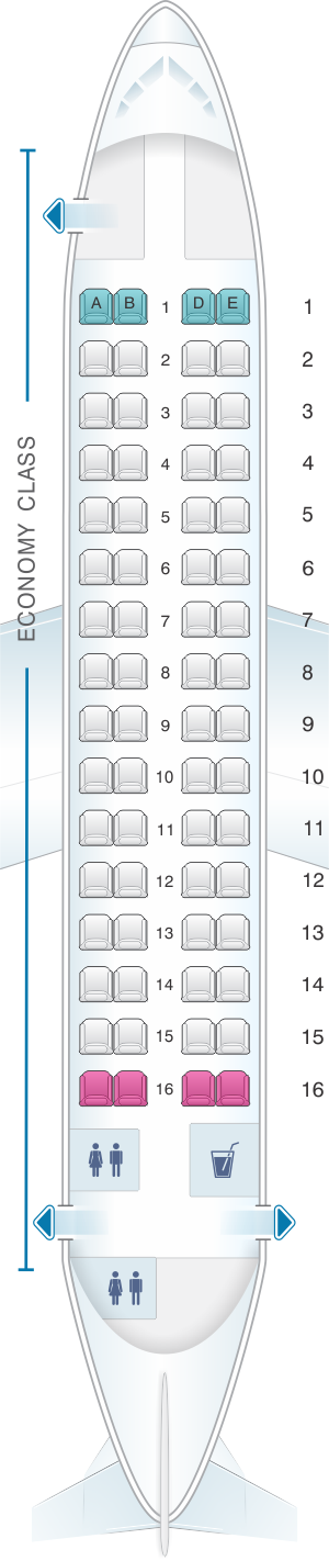 Seat map for Csa Czech Airlines ATR 72 202
