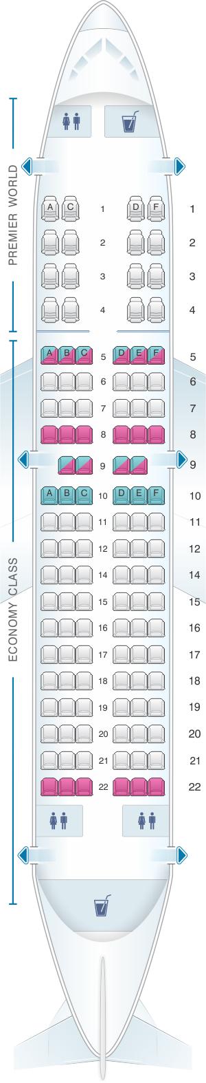 Seat map for Kenya Airways Boeing B737 300