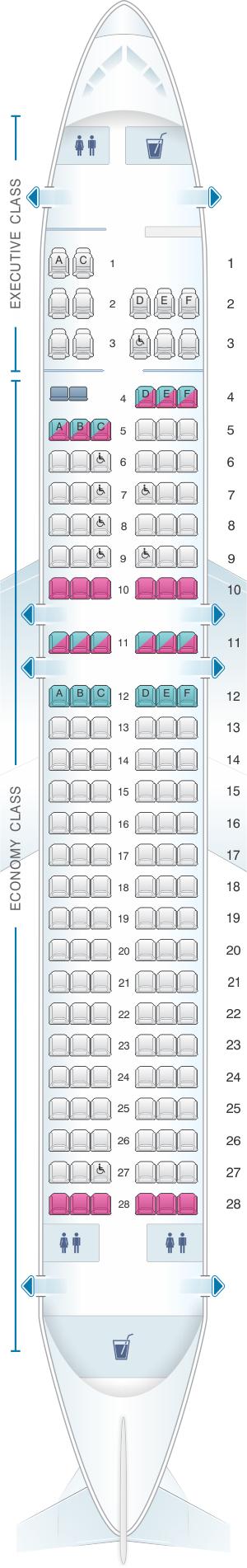 Seat map for SATA Air Açores Airbus A320-200 Config.1