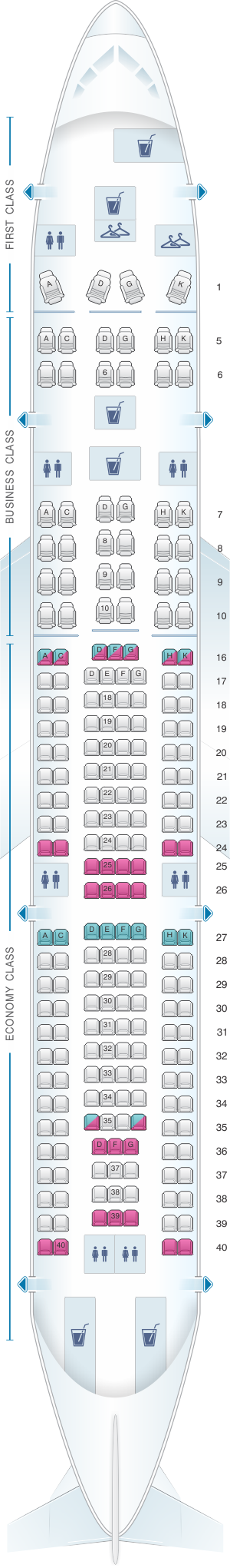 Seat map for LATAM Airlines Brasil Airbus A330 200
