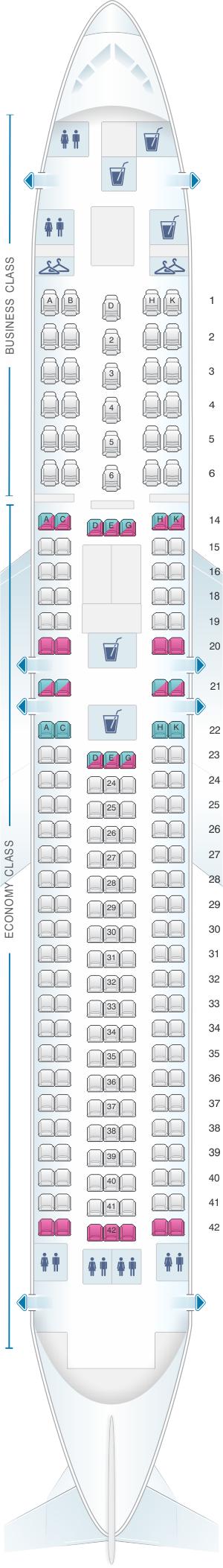 Seat map for LATAM Airlines Brasil Boeing B767 300ER V1