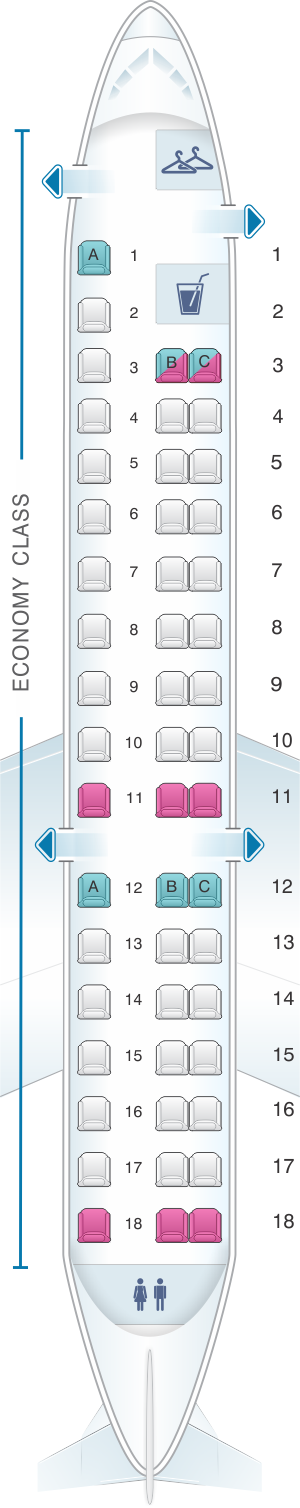Seat map for American Airlines Embraer ERJ 145