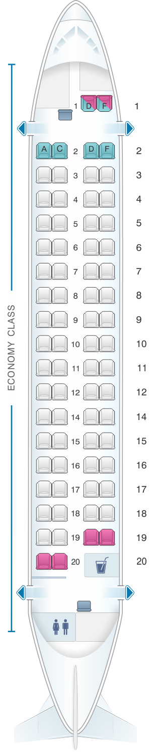 Seat map for Kingfisher Airlines Aerospatiale ATR72 500 72PAX