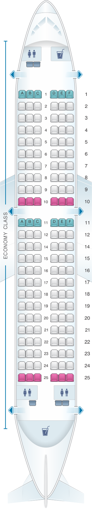 Seat map for Kingfisher Airlines Airbus A319 100