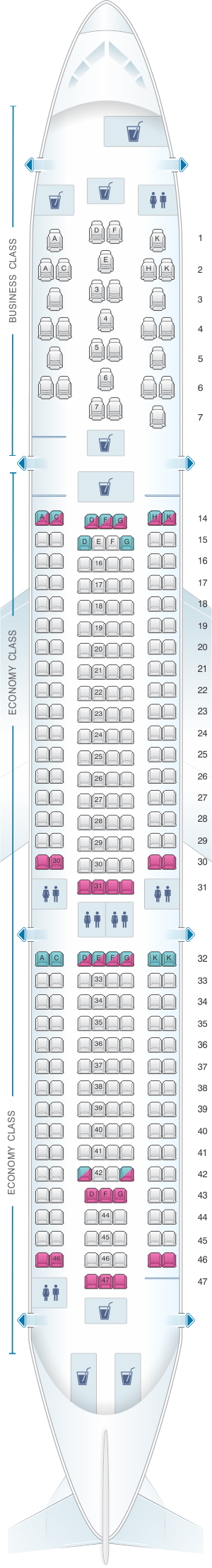 Seat map for Brussels Airlines Airbus A330 300