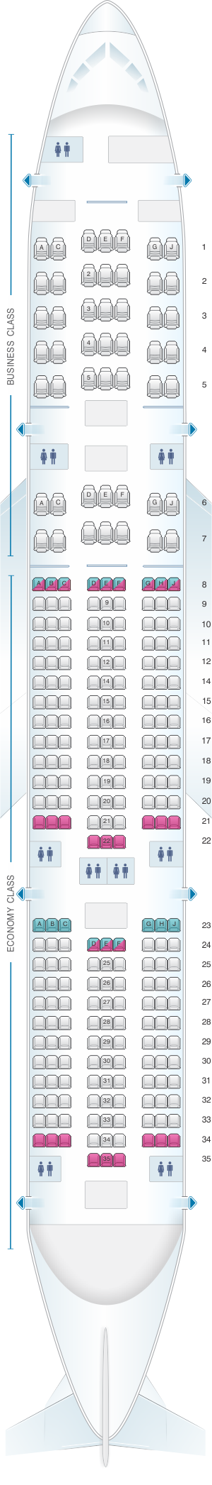 Seat map for Aeromexico Boeing B777 200ER