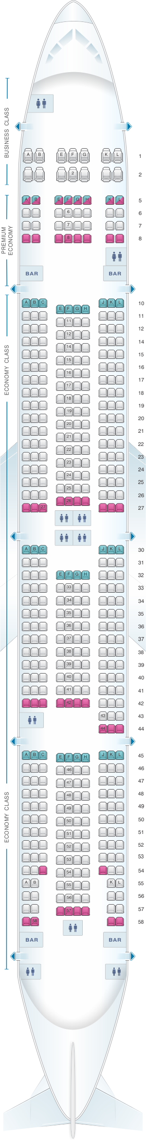 Seat map for Air France Boeing B777 300 Long-Haul International 468PAX