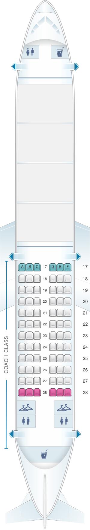 Seat map for Alaska Airlines - Horizon Air Boeing B737 400 Combi