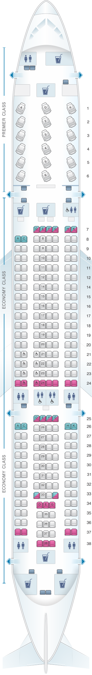 Seat map for Jet Airways Airbus A330 200 254PAX