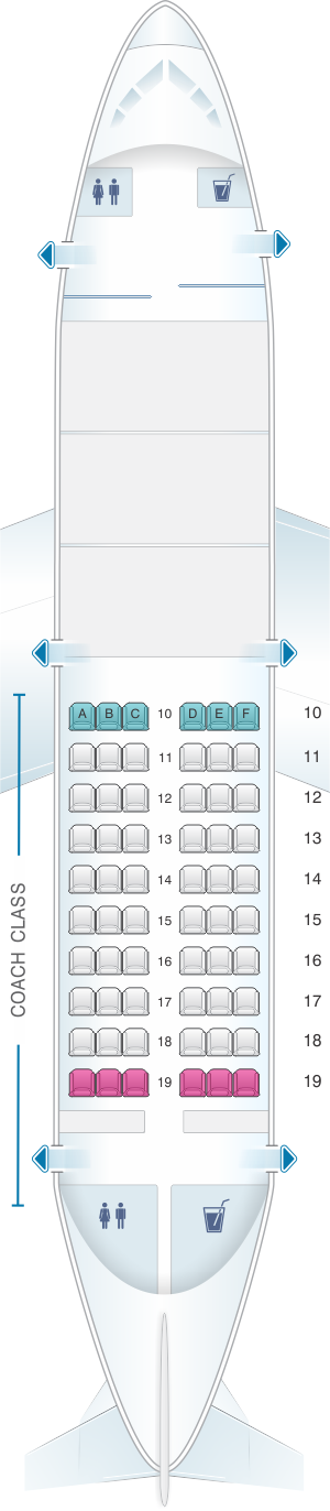 Seat map for Air Inuit Boeing B737 200C 60pax Combi