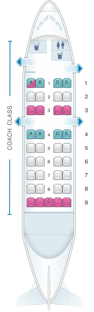 Seat map for Air Inuit Dash 8 100 37pax Combi