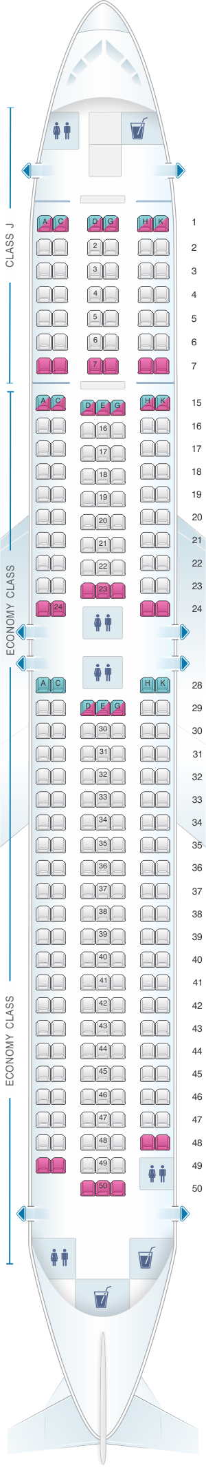 Seat map for Japan Airlines (JAL) Boeing B767 300 A23/A26