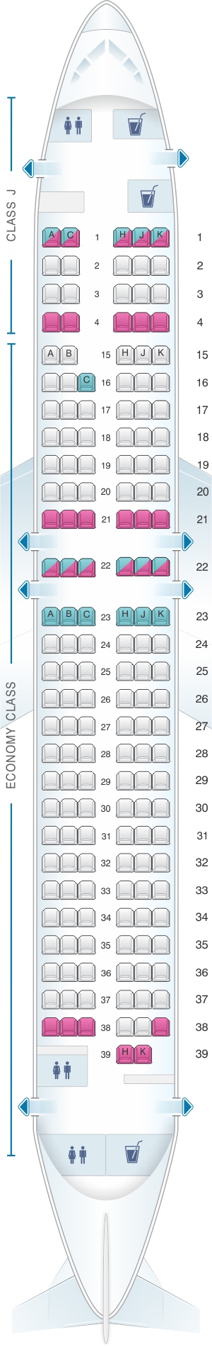 Seat map for Japan Airlines (JAL) Boeing B737 800 V30/V32