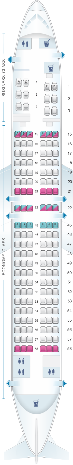 Seat map for Japan Airlines (JAL) Boeing B737 800 V40