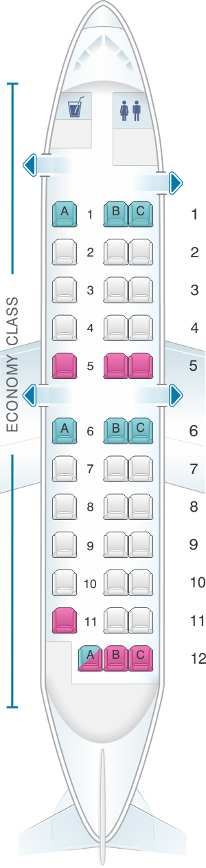 Seat map for Japan Airlines (JAL) SAAB 340B P01
