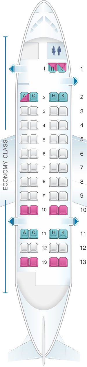 Seat map for Japan Airlines (JAL) DHC8 Q300 Q21