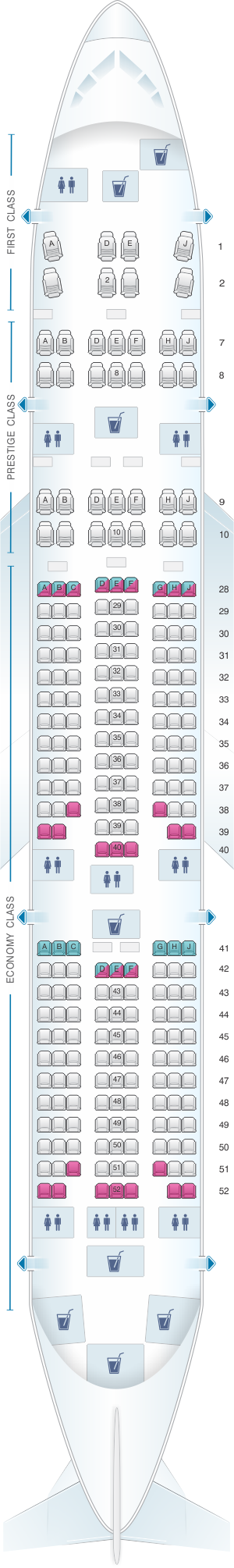 Seat map for Korean Air Boeing B777 200ER 248PAX