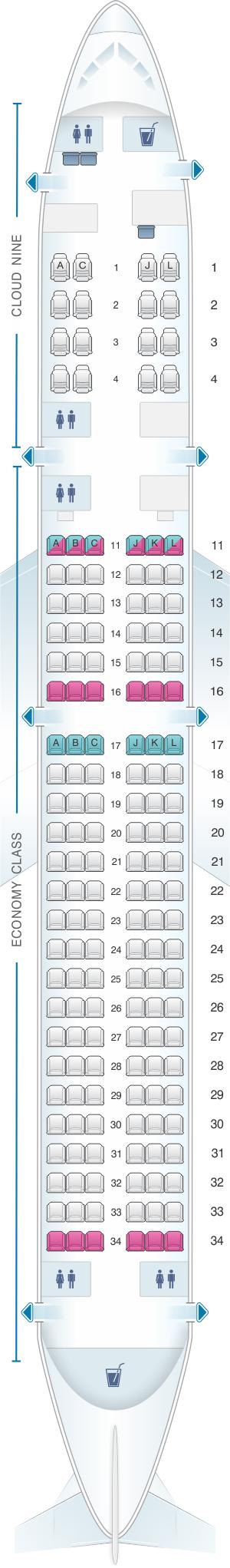 Seat map for Ethiopian Boeing B757 200 ER 160pax