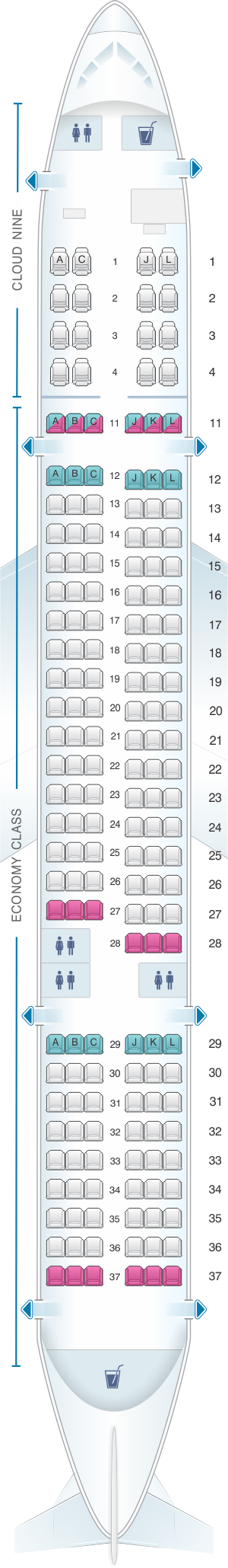 Seat map for Ethiopian Boeing B757 200 ER 175pax