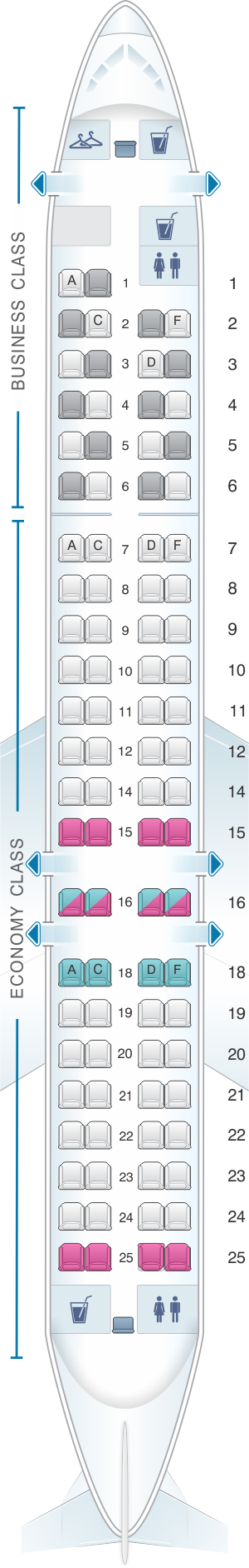 Seat map for Lufthansa Bombardier Canadair CRJ 900