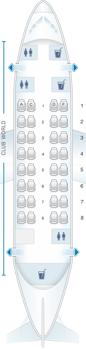 Seat map for British Airways Airbus A318 - Club World London City