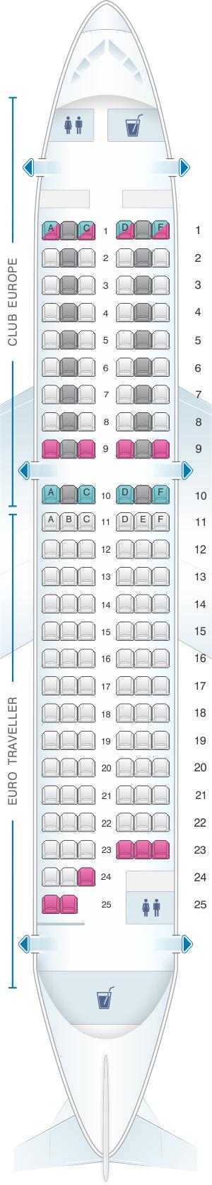 Seat map for British Airways Airbus A319 European Layout