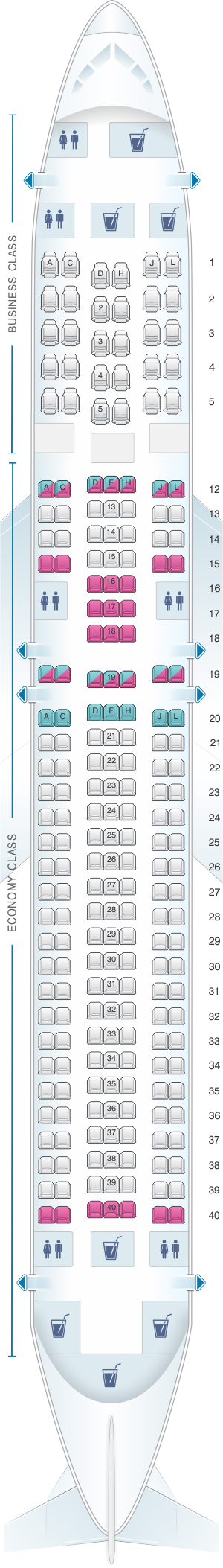 Seat map for LATAM Airlines Boeing B767 300