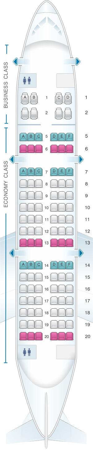 Seat map for Air Izhavia Yakovlev Yak 42 104 pax