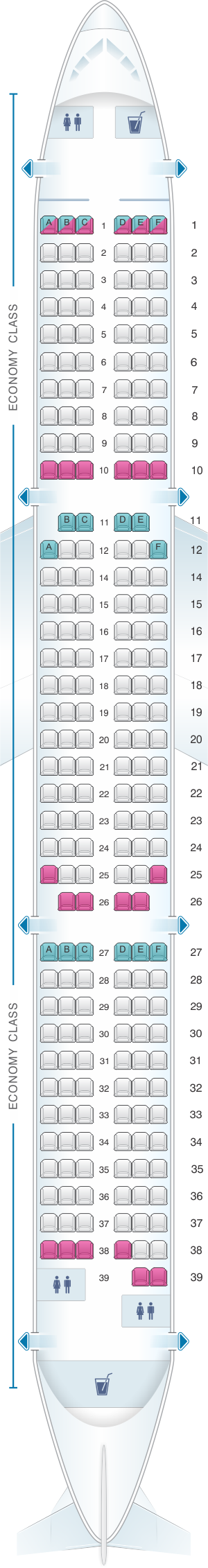 Seat map for Ural Airlines Airbus A321