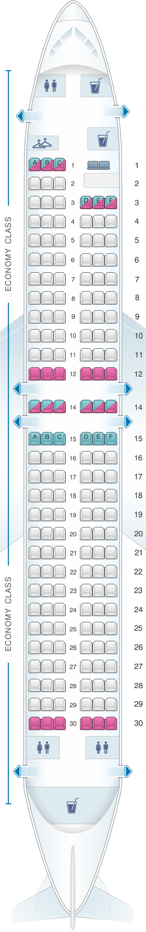 Seat map for Miami Air Boeing B737 800 Config. 2