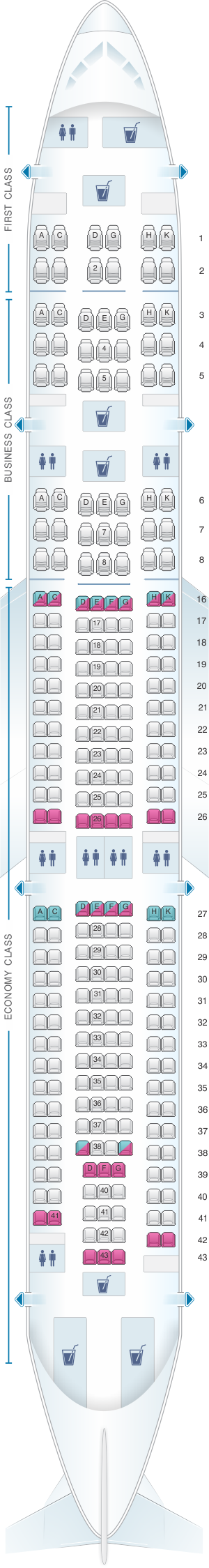 Seat map for Hi Fly Airbus A340 300 TQY/TQZ 267pax