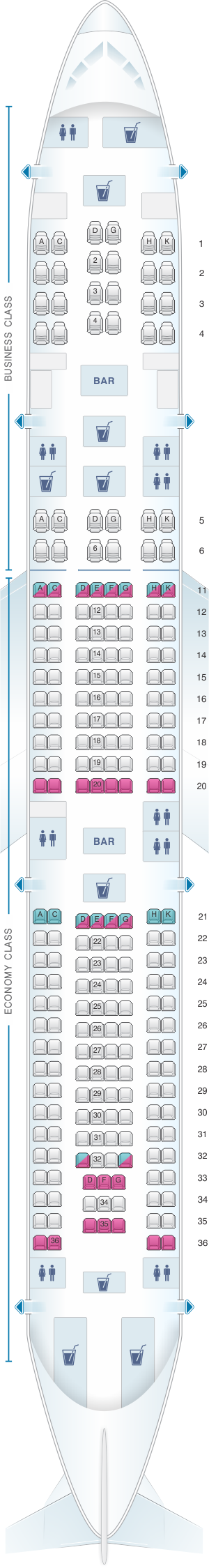 Seat map for Hi Fly Airbus A340 500 TFX/TFW 237pax