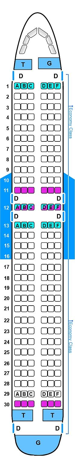 Seat map for Sky Airlines Airbus A320 232