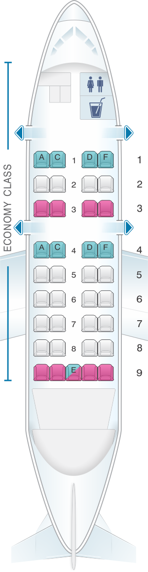 Seat map for SATA Air Açores Bombardier Q200 Config.1