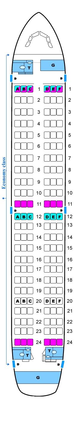 Seat map for Skyservice Airlines Airbus A319