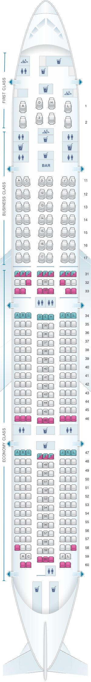Seat map for Air China Boeing B777 300ER (311PAX)