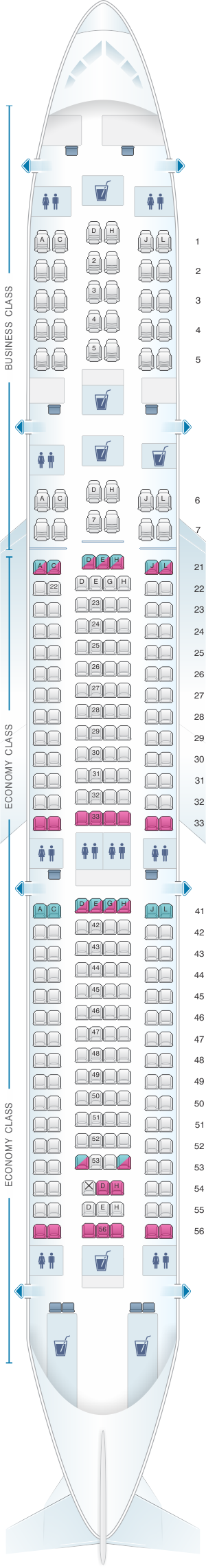 Seat map for Finnair Airbus A340 300 269PAX