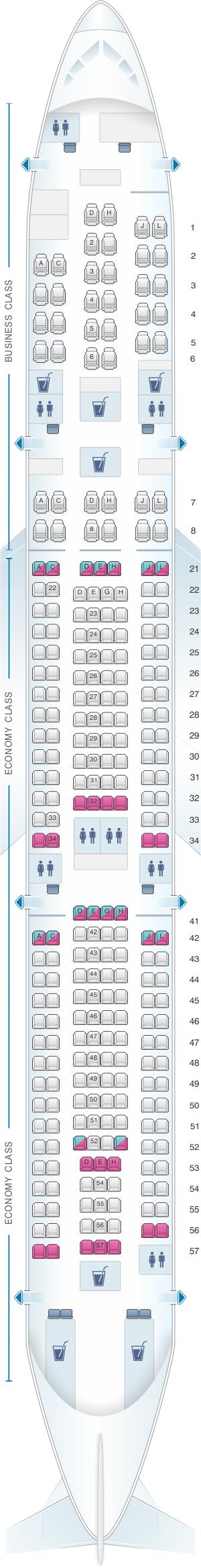 Seat map for Finnair Airbus A340 300 270PAX