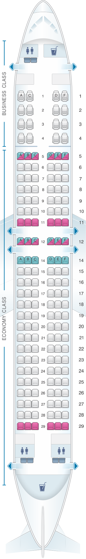 Seat map for Malaysia Airlines Boeing B737 800 160PAX