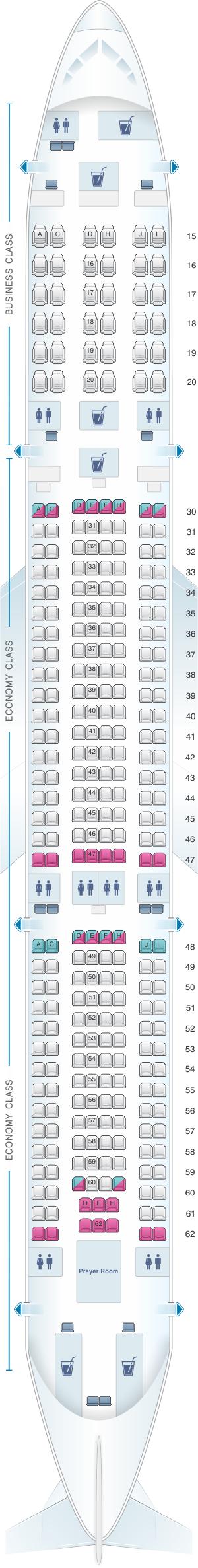 Seat map for Saudi Arabian Airlines Airbus A330 300 (333)